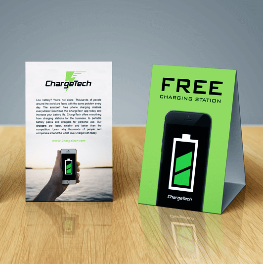 chargetech table tent free charging chargetech