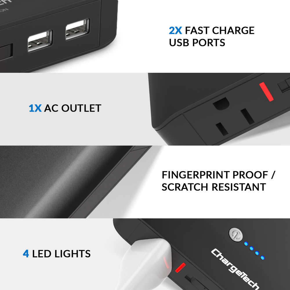 Portable Power Outlet Battery Charger Inverter Chargetech Wall Ports Plugged Wiring Devices Home Office Ac Usb Device